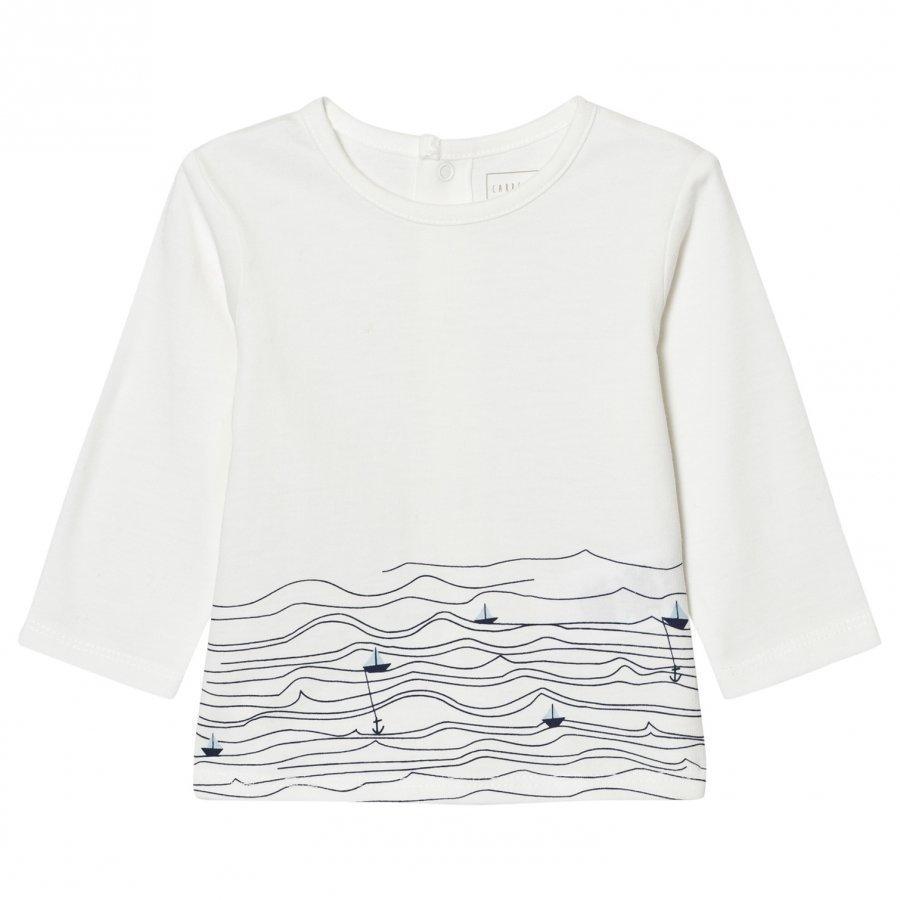 Carrément Beau White Sail Boat Sea Print Tee T-Paita