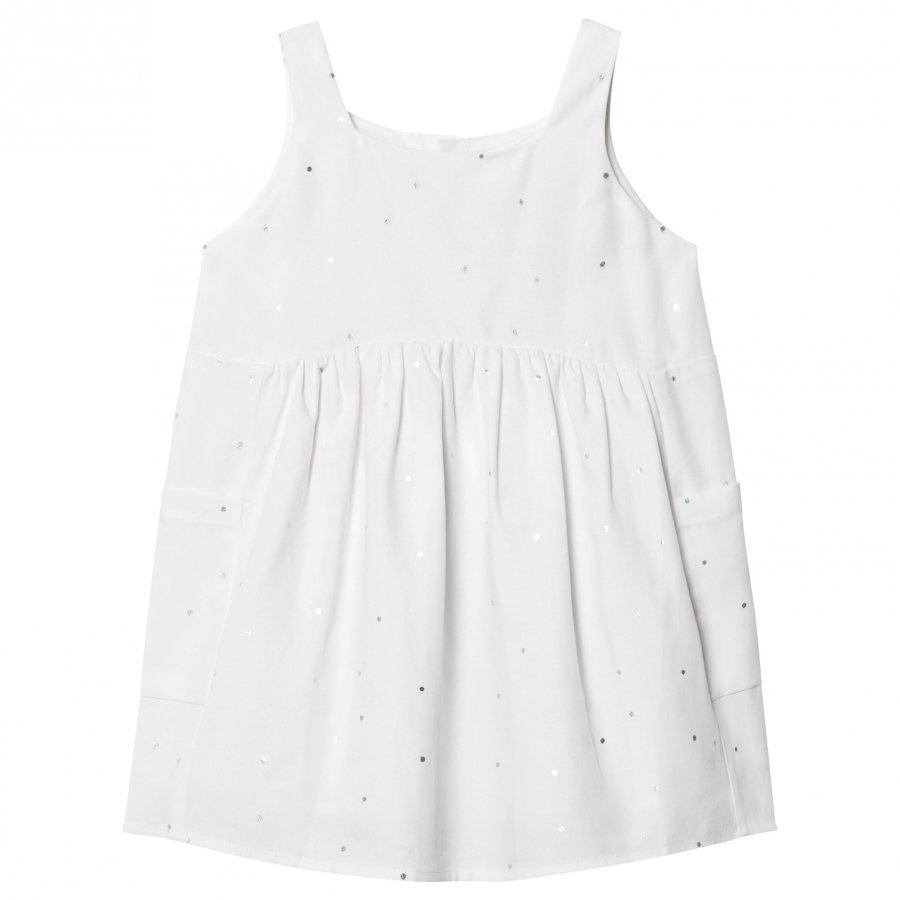 Carrément Beau White Silver Spot Linen Dress Juhlamekko