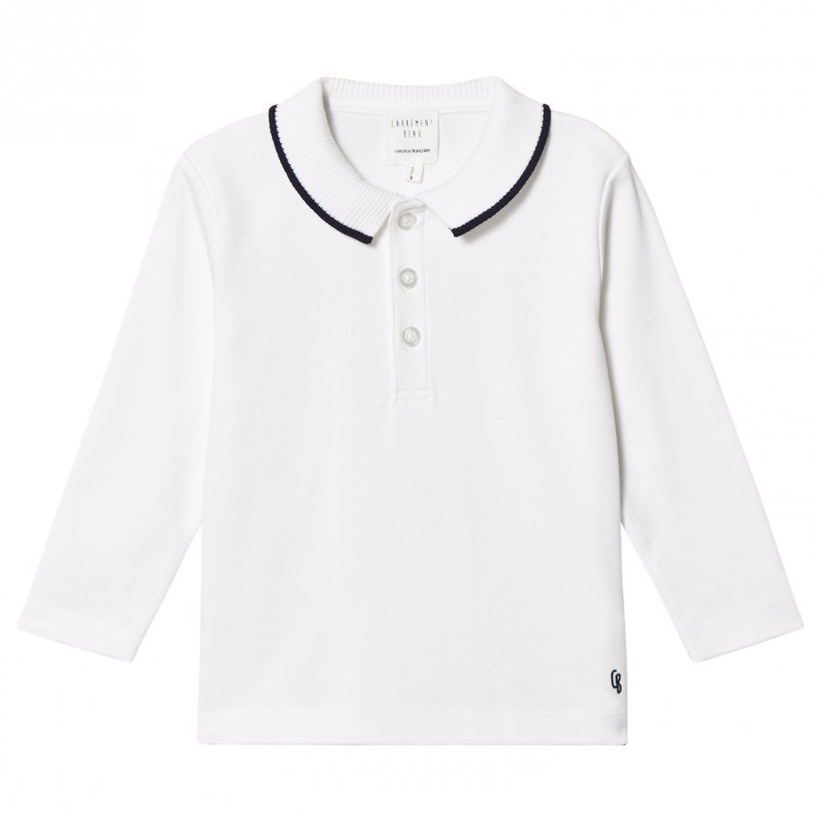 Carrément Beau White/Navy Smart Polo Shirt Pikeepaita