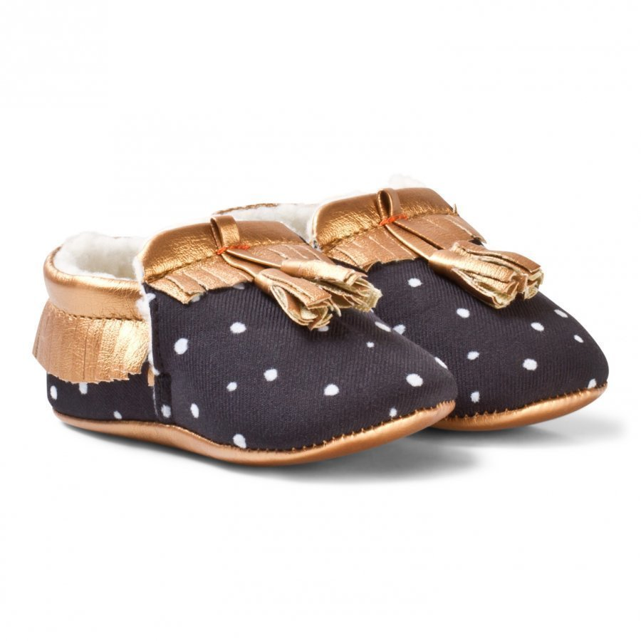 Catimini Black And Rose Gold Crib Shoes Vauvan Kengät