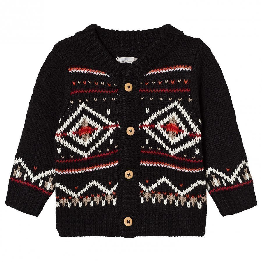 Catimini Black Fairisle Knit Cardigan Neuletakki