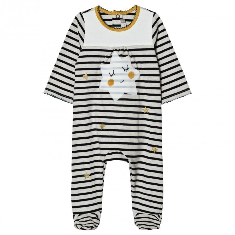 Catimini Cream And Navy Stripe With Star Print Footed Baby Body