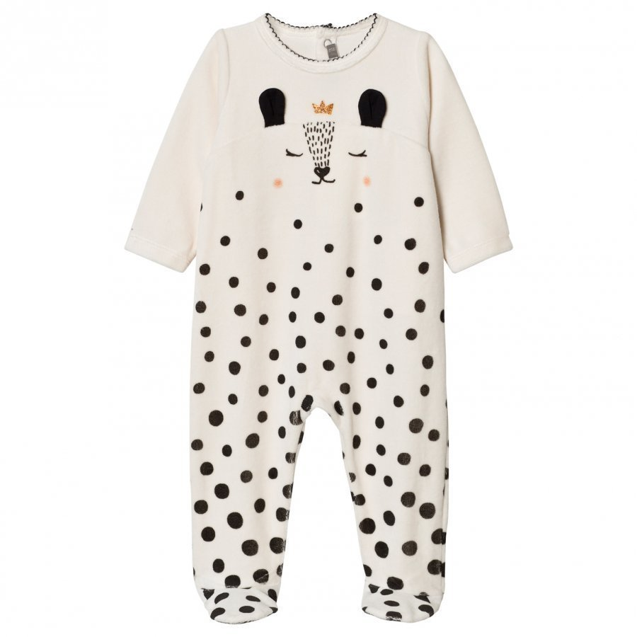 Catimini Cream Deer Print Velour Footed Baby Body