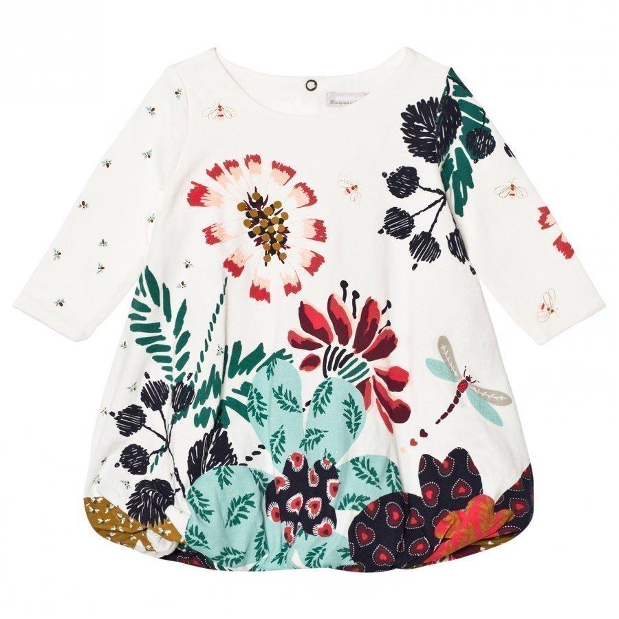 Catimini Cream Flower And Bird Print Jersey Bubble Dress Mekko