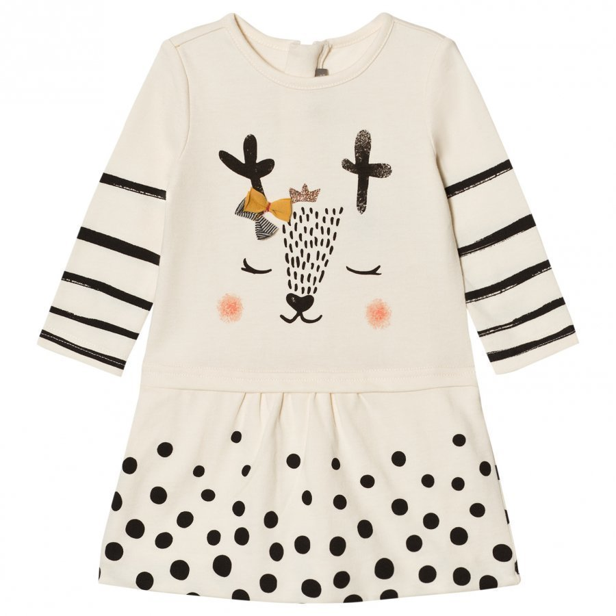 Catimini Cream Spot And Stripe Deer Print Jersey Dress Mekko