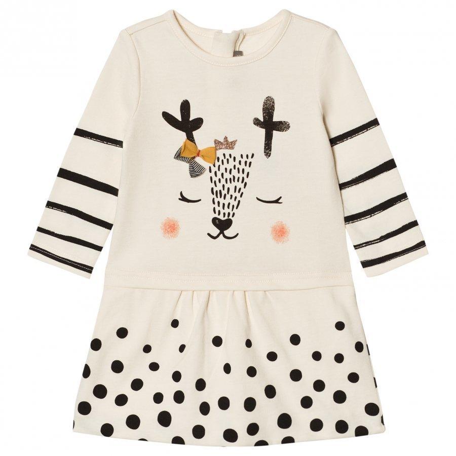 Catimini Cream Spot And Stripe Deer Print Jersey Dress Mekko