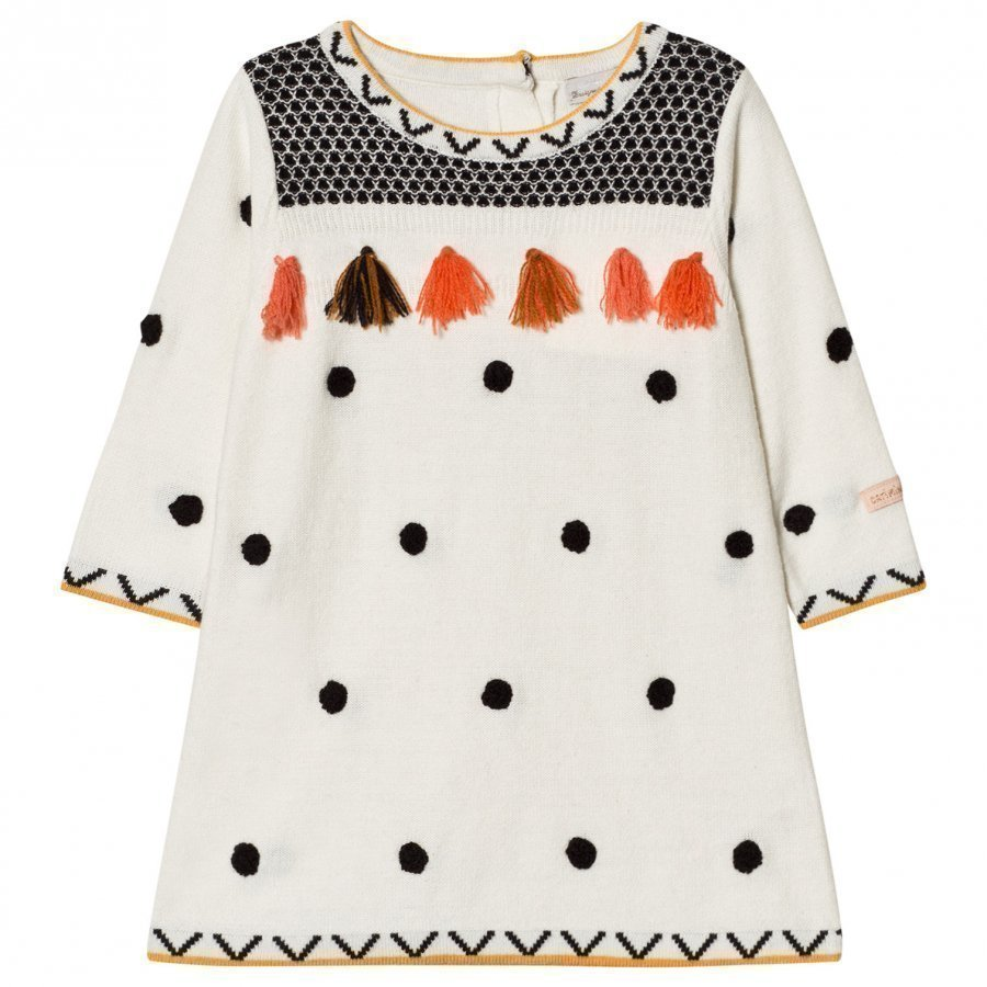 Catimini Cream Spot And Tassel Knit Dress Mekko