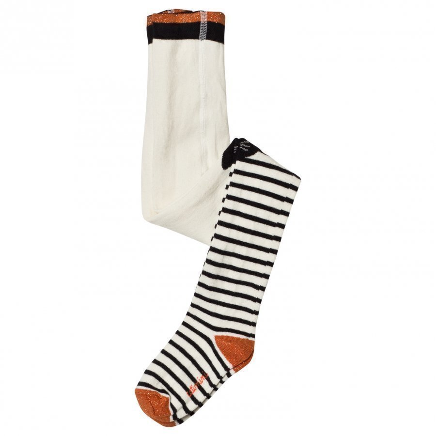 Catimini Cream Stripe Cat Face Tights Legginsit