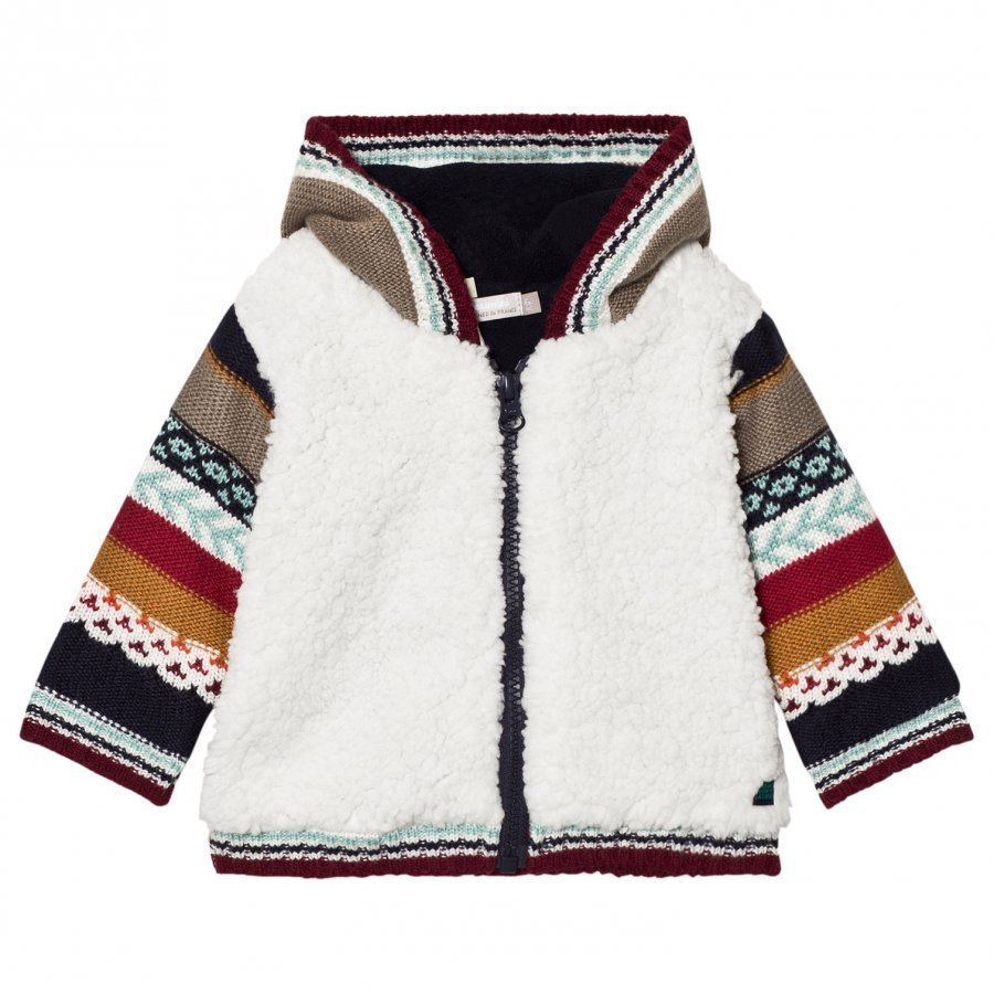 Catimini Cream Teddy Cardigan With Multi Knit Sleeves Huppari
