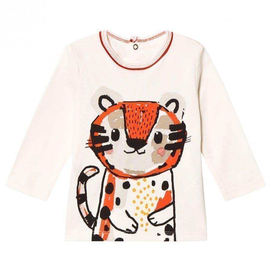 Catimini Cream Tiger Print Tee T-Paita