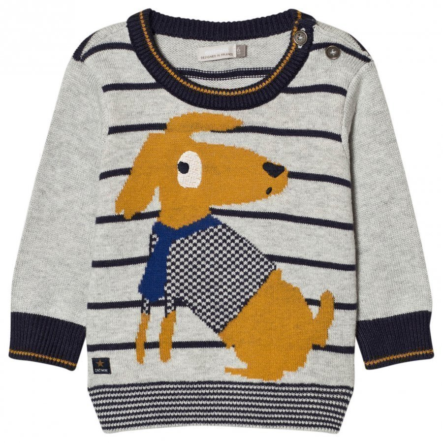 Catimini Dog And Stripe Knit Sweater Paita