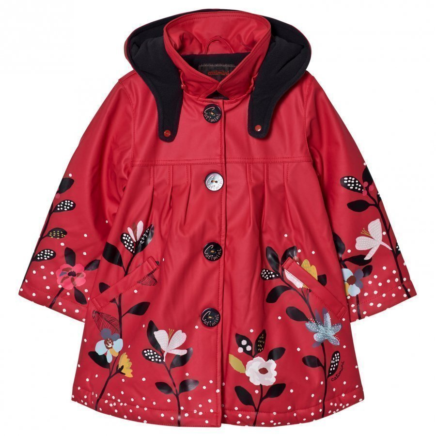Catimini Fuchsia Floral Raincoat With Detachable Hood Sadetakki