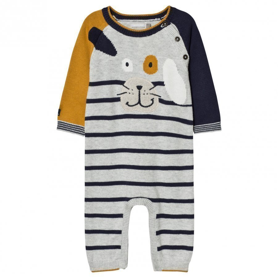 Catimini Grey And Mustard Strip Dog Applique Knit One-Piece Body