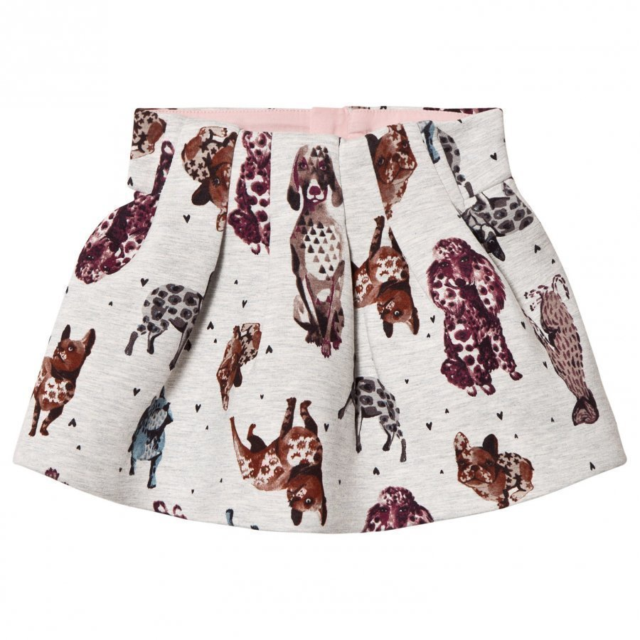 Catimini Grey Dog Print Skirt Lyhyt Hame