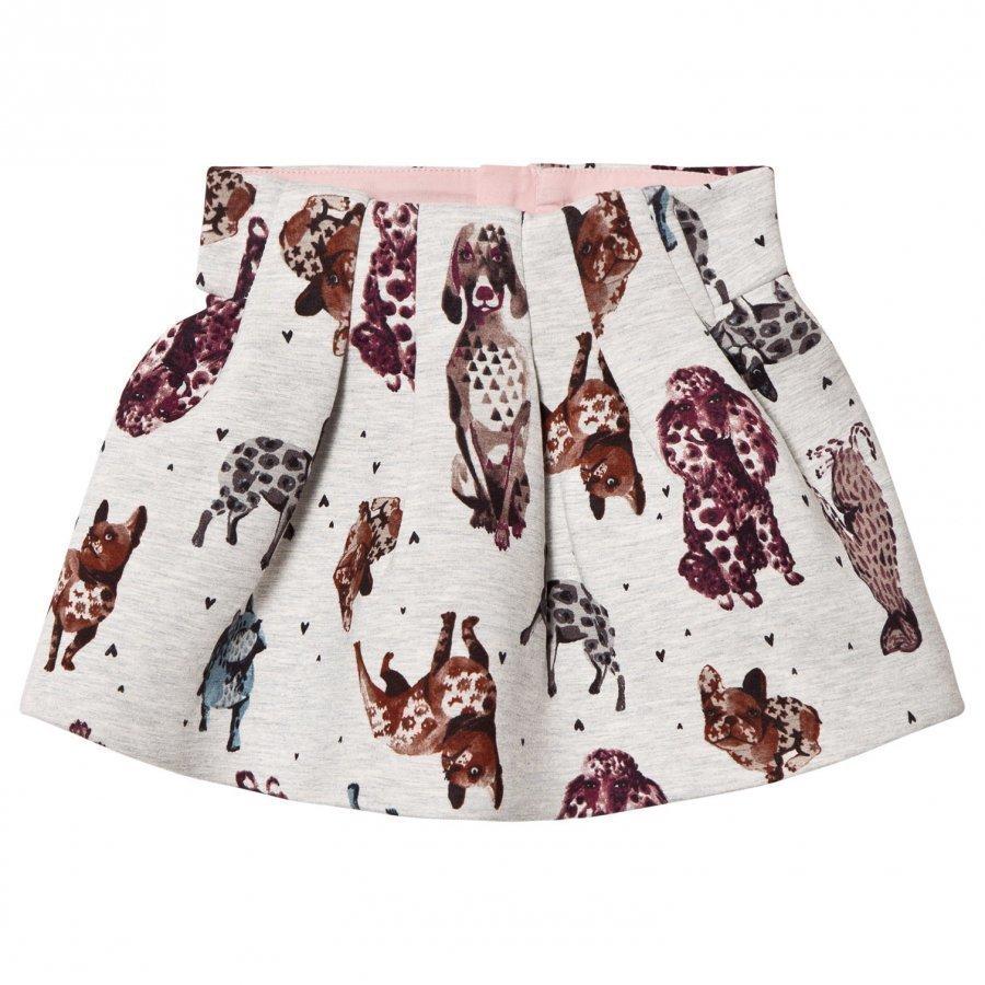 Catimini Grey Dog Print Skirt Lyhyt Hame