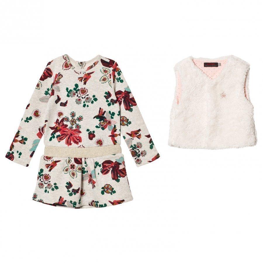 Catimini Grey Floral Sweat Dress With Faux Fur Gilet Set Mekko