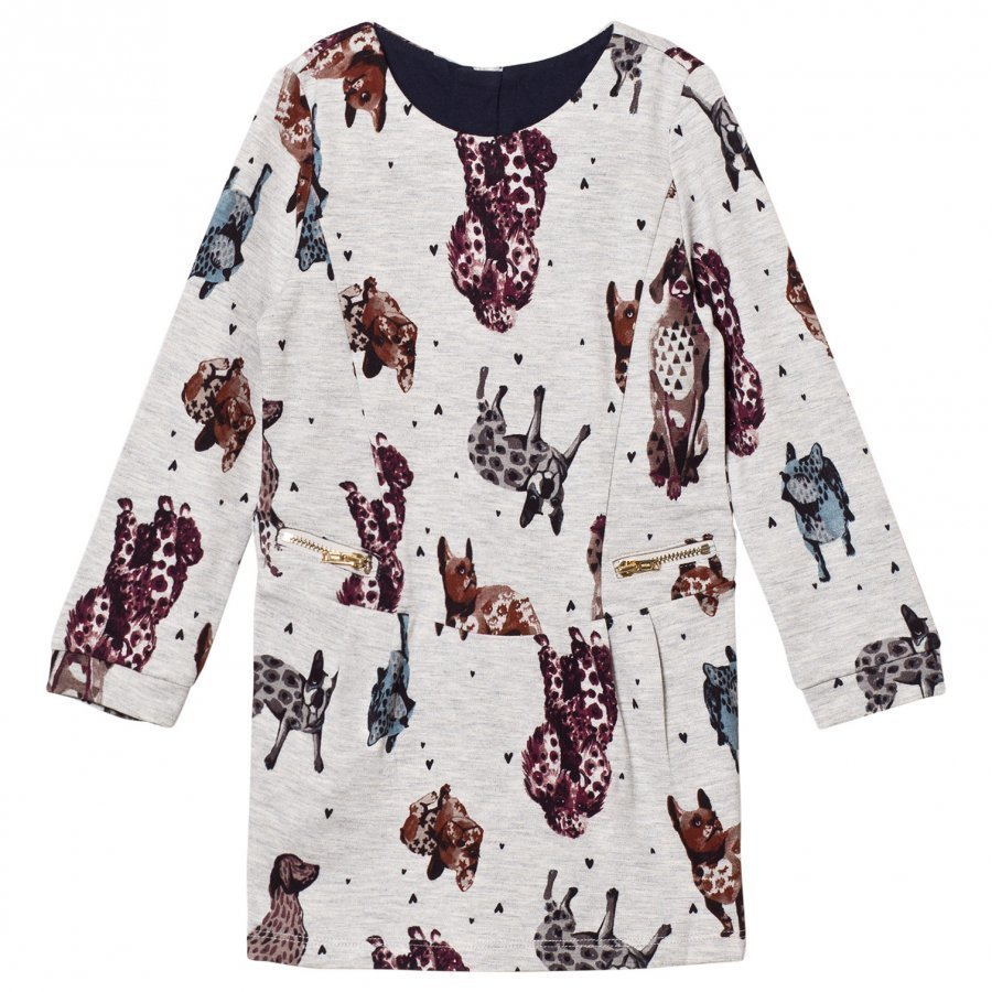 Catimini Grey Marled Dog Print Sweater Dress Mekko