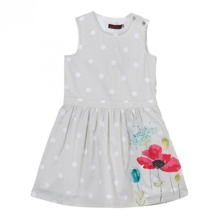 Catimini Grey Spot And Floral Print Dress Mekko