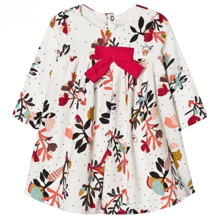 Catimini Multi Flower Print Microcord Dress With Bow Detail Mekko