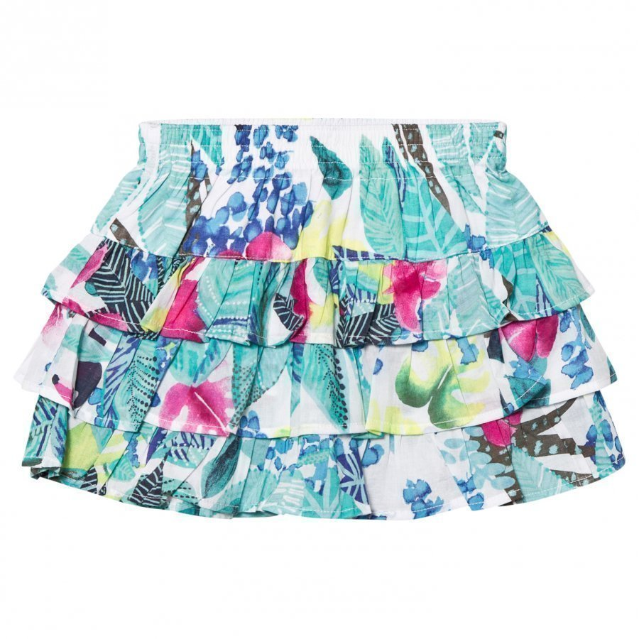 Catimini Multi Mint Jungle Floral Print Ruffle Skirt Lyhyt Hame