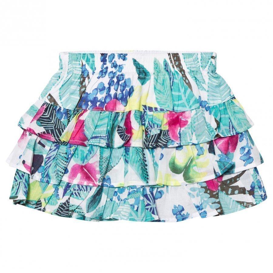 Catimini Multi Mint Jungle Floral Print Ruffle Skirt Lyhyt Hame