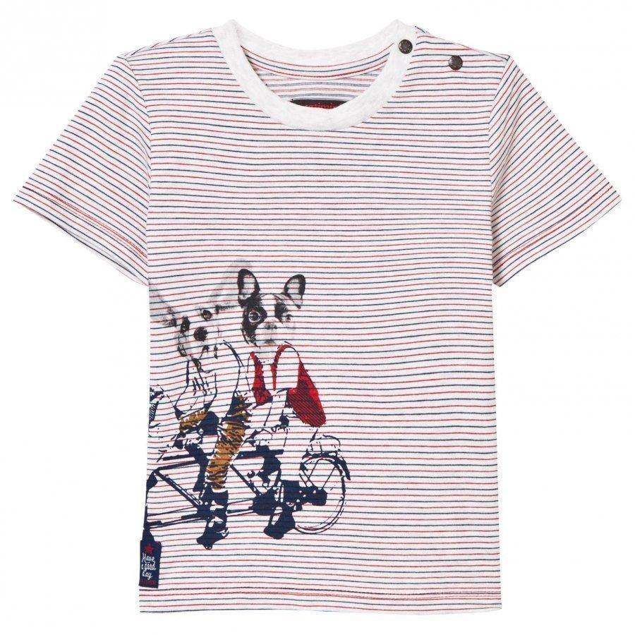 Catimini Multi Stripe And Dog Print Tee T-Paita