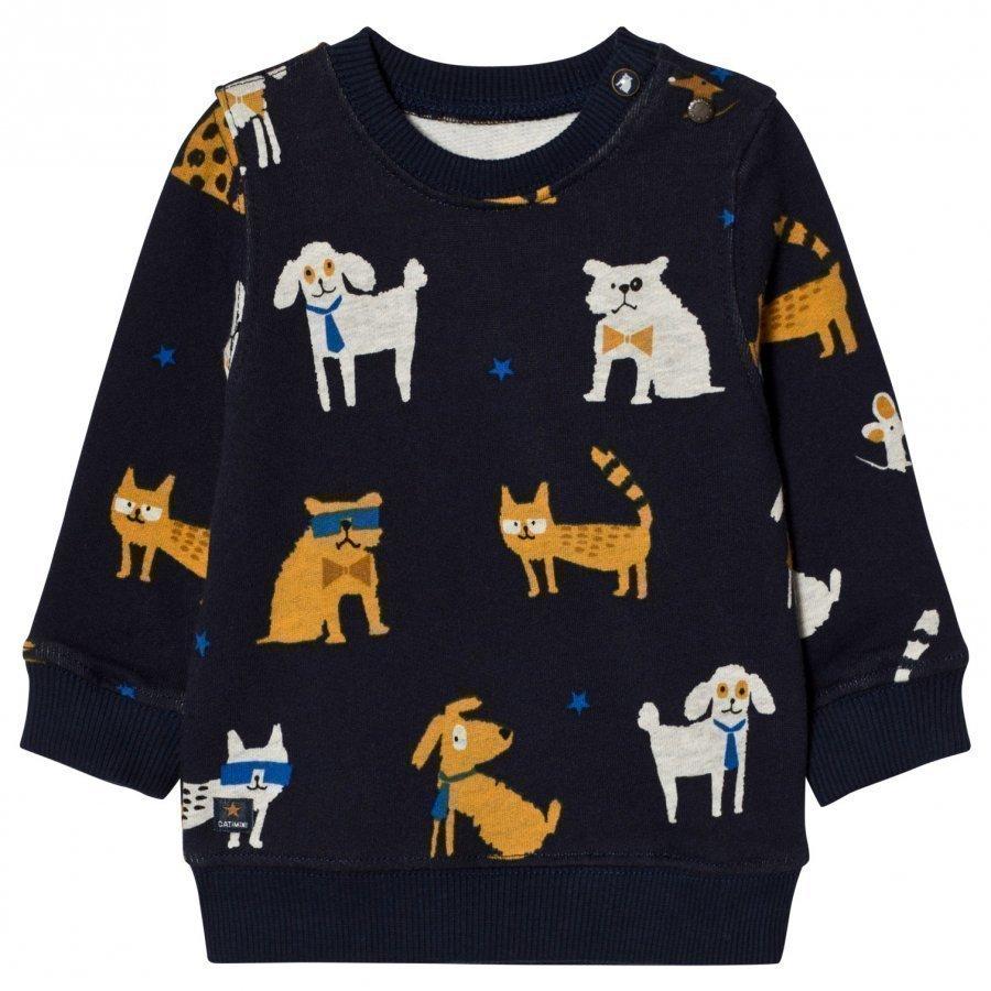 Catimini Navy All Over Dog Print Sweatshirt Oloasun Paita