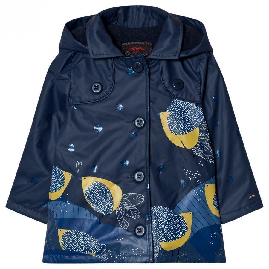 Catimini Navy Bird And Glitter Print Raincoatprint Raincoat Sadetakki