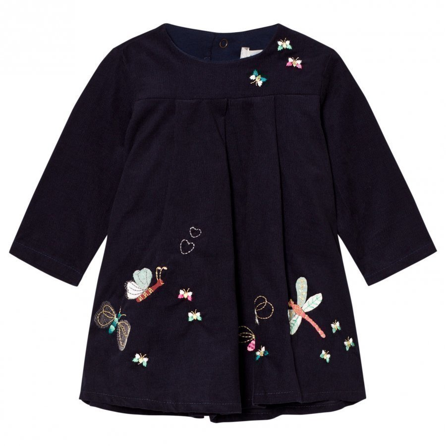 Catimini Navy Butterfly Embroidered Micro Cord Dress Mekko