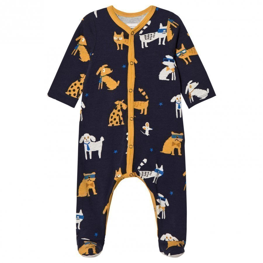 Catimini Navy Dog Print Footed Baby Body