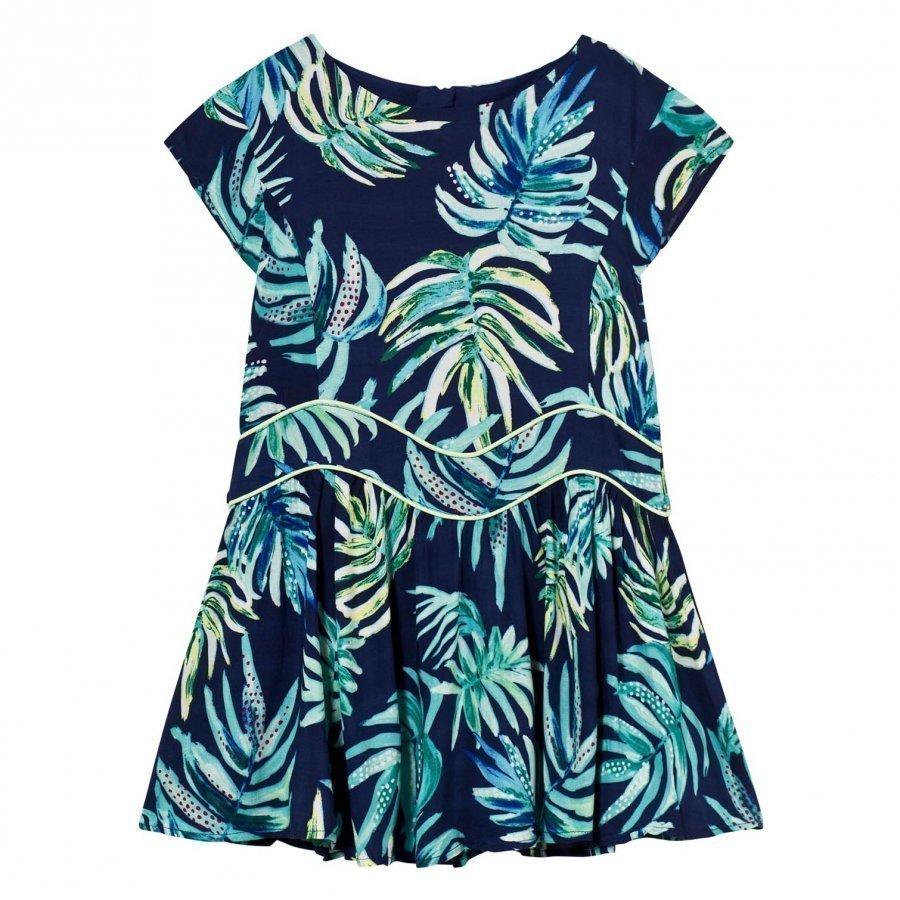 Catimini Navy Dress With Multi Jungle Floral Print Mekko