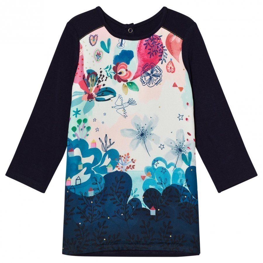Catimini Navy Floral Front Jersey Dress Mekko