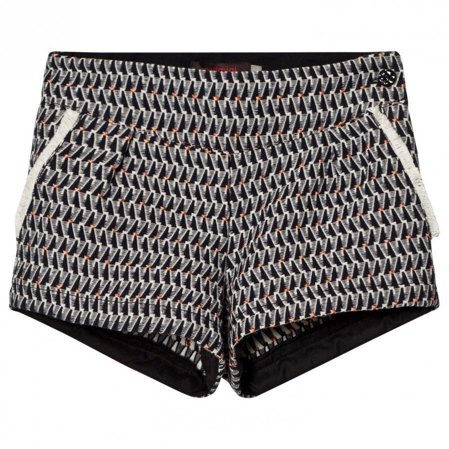 Catimini Navy Jacquard Shorts With Fringe Detail Juhlashortsit