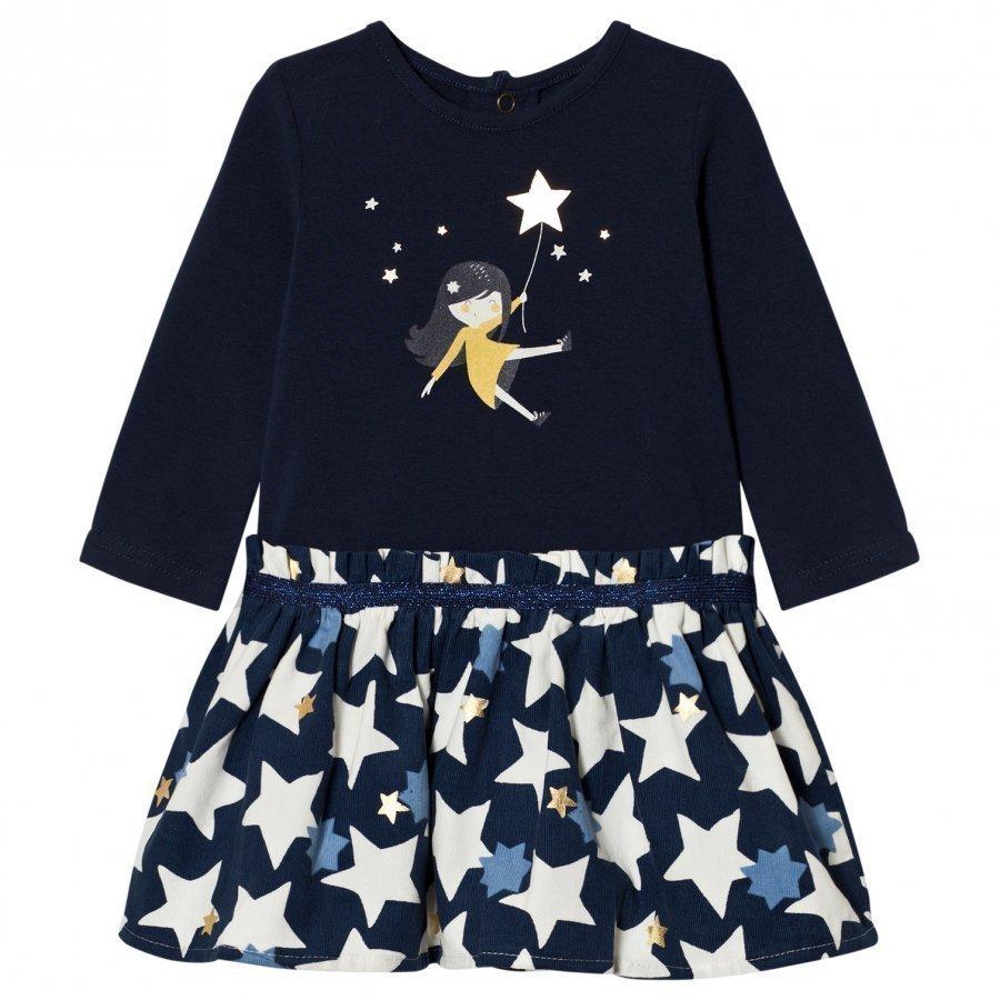 Catimini Navy Star And Girl Print Dress Mekko