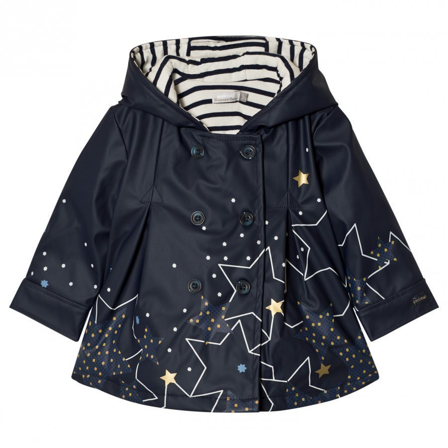 Catimini Navy Star Print Lined Raincoat Sadetakki