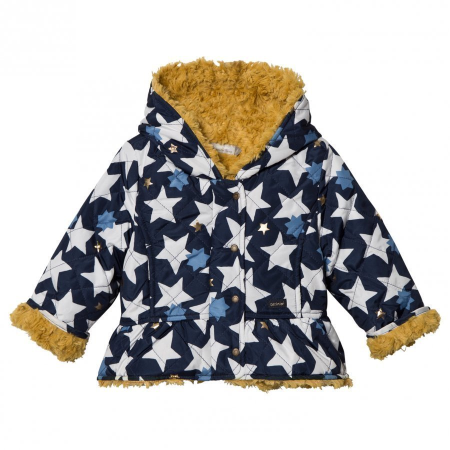 Catimini Navy Star Print Teddy Lined Raincoat Sadetakki