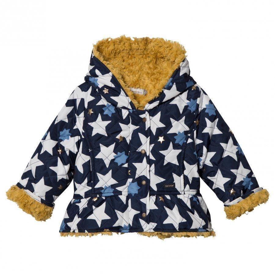 Catimini Navy Star Print Teddy Lined Raincoat Sadetakki