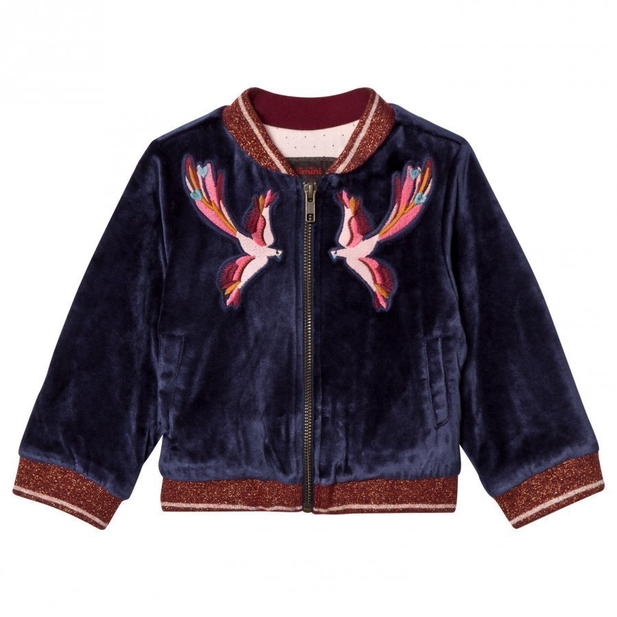 Catimini Navy Velour Embroidered Bomber Jacket Bomber Takki