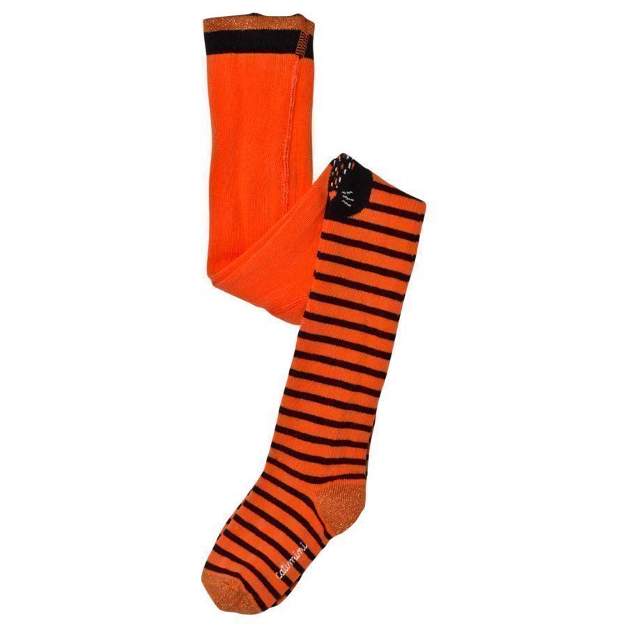 Catimini Orange Stripe Cat Face Tights Legginsit
