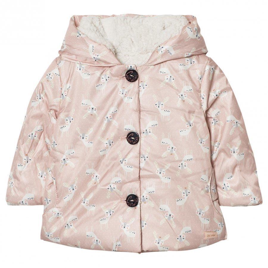 Catimini Pink Deer Print Coat With Teddy Lining Talvitakki