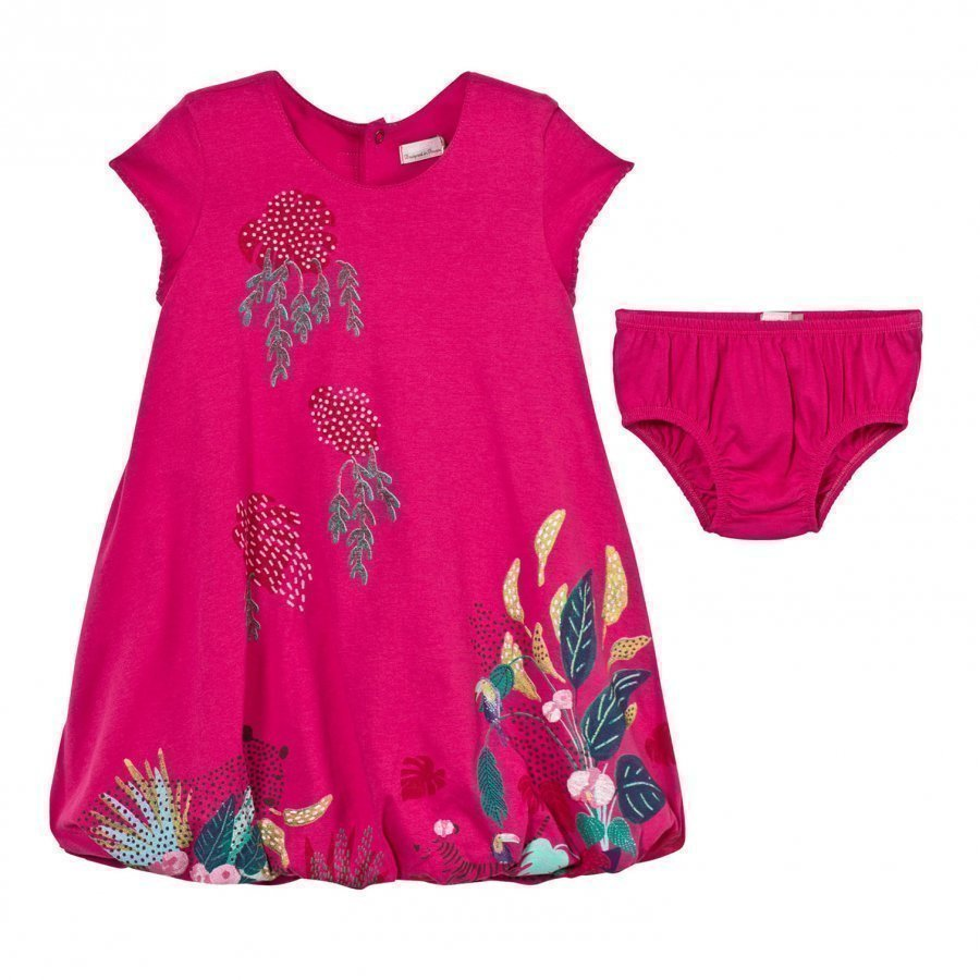 Catimini Pink Jersey Floral Print Dress With Bloomers Mekko