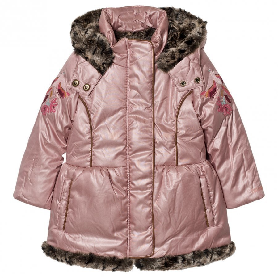 Catimini Pink Metallic Parka With Faux Fur Lining Parkatakki