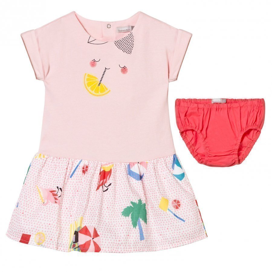 Catimini Pink Multi Jersey And Printed Woven Dress And Knickers Mekko