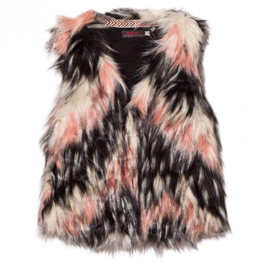 Catimini Pink Textured Faux Fur Gilet Toppaliivi