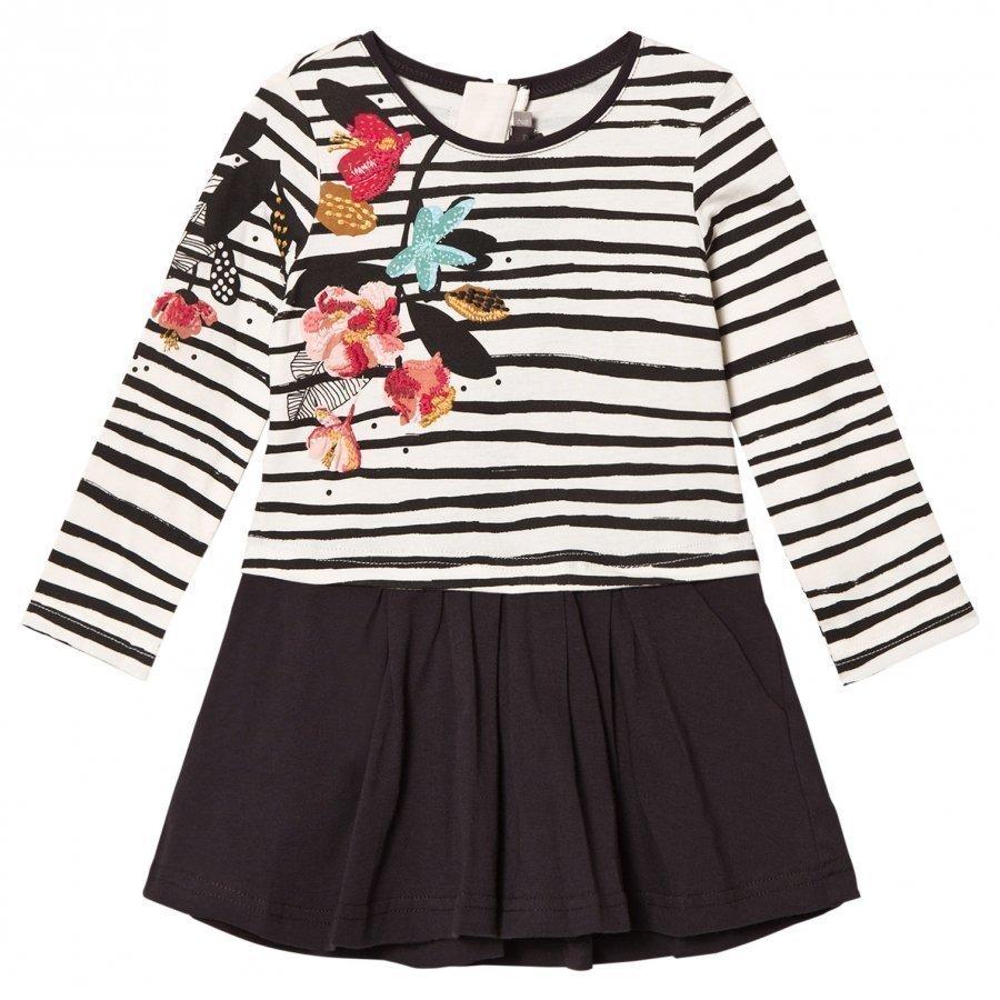 Catimini Striped Floral Jersey Dress Mekko