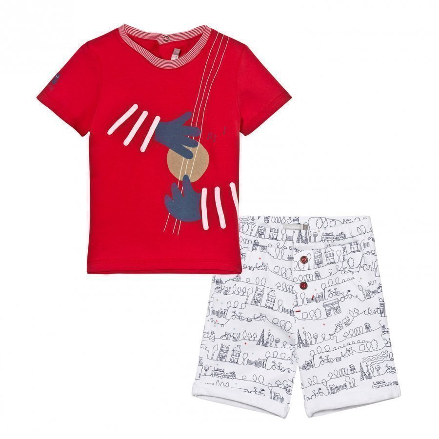 Catimini Tee And Shorts Set Red And White Paris Scribble Asusetti