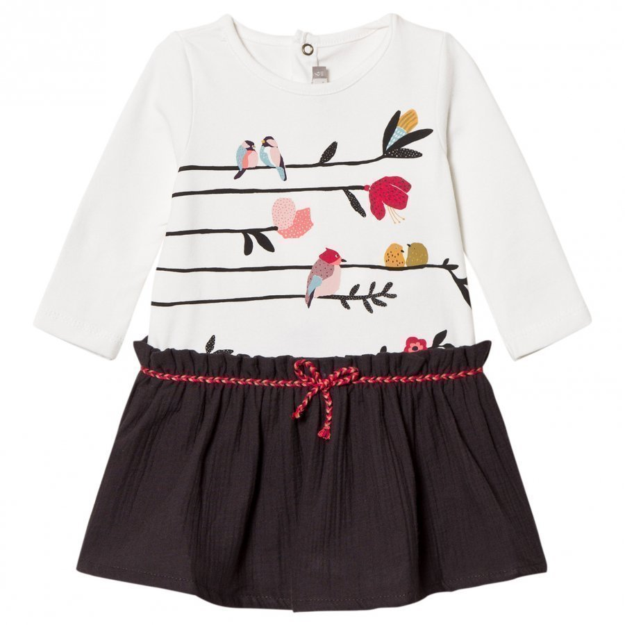 Catimini White Bird Print Dress Mekko