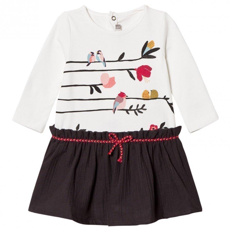 Catimini White Bird Print Dress Mekko