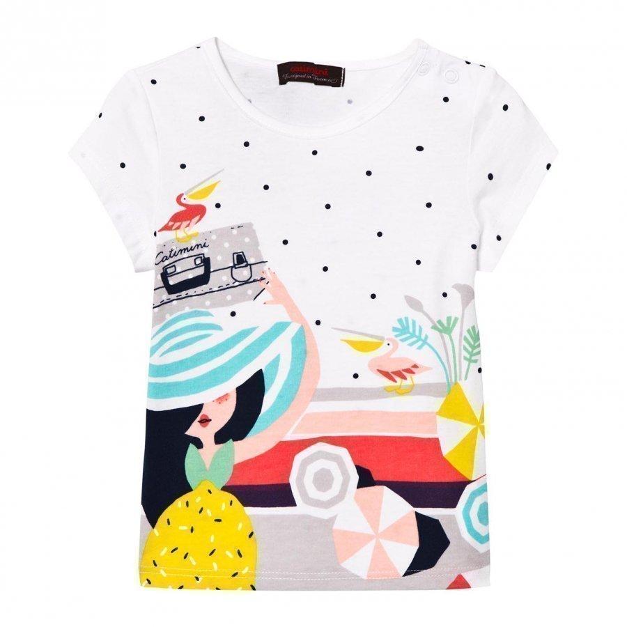 Catimini White Multi Holiday Print Tee T-Paita
