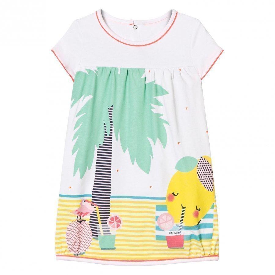 Catimini White Multi Jersey Beach Print Dress Mekko